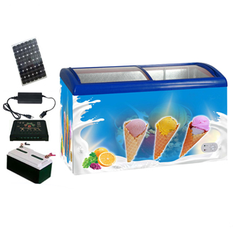 12V/24V DC 100% off grid solar ice cream freezer with glass door