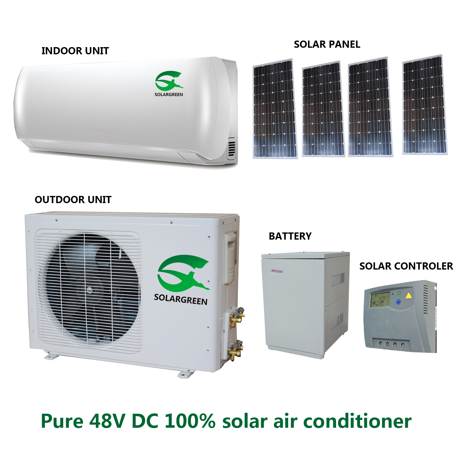 48V DC 9000btu-24000btu 100% off Grid Solar Air Conditioner with Panasonic Compressor and Motors