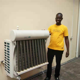 hybrid solar thermal air conditioner saving 30-50% installed in Ghana