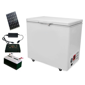 12V/24V DC 100% off grid solar deep chest freezer with 24 hours back up battery